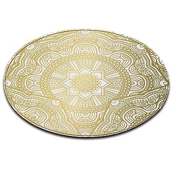 Lb Tapis Rond Blanc Or Texture Modele De Mandala Salon Chambre
