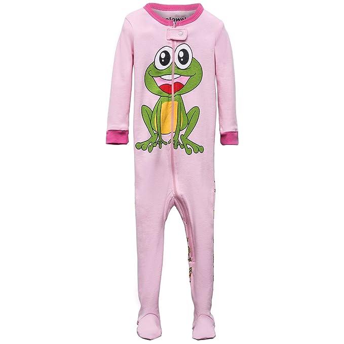 Elowel Ninas Rana Pijama con pies 100% Algodon (6M a 5 Anos