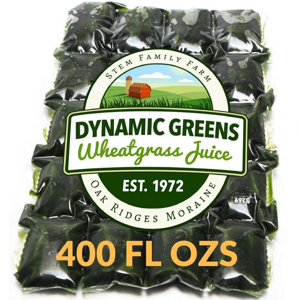 Dynamic Greens Wheatgrass Juice - 400 Fl Ozs - Just $1.45 Per Oz - 100% Wheatgrass Juice - Field Grown - Flash Frozen - Unpasteurized - 800 x 0.5 Fl Oz Portions by Dynamic Greens