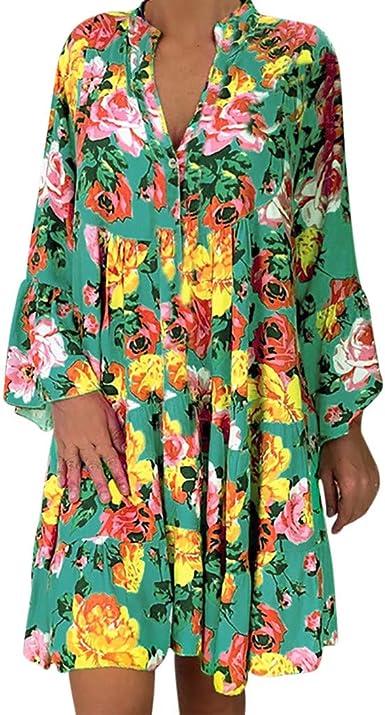 Vestido Suelto Mujeres de Verano Impresión Manga Larga Moda ...