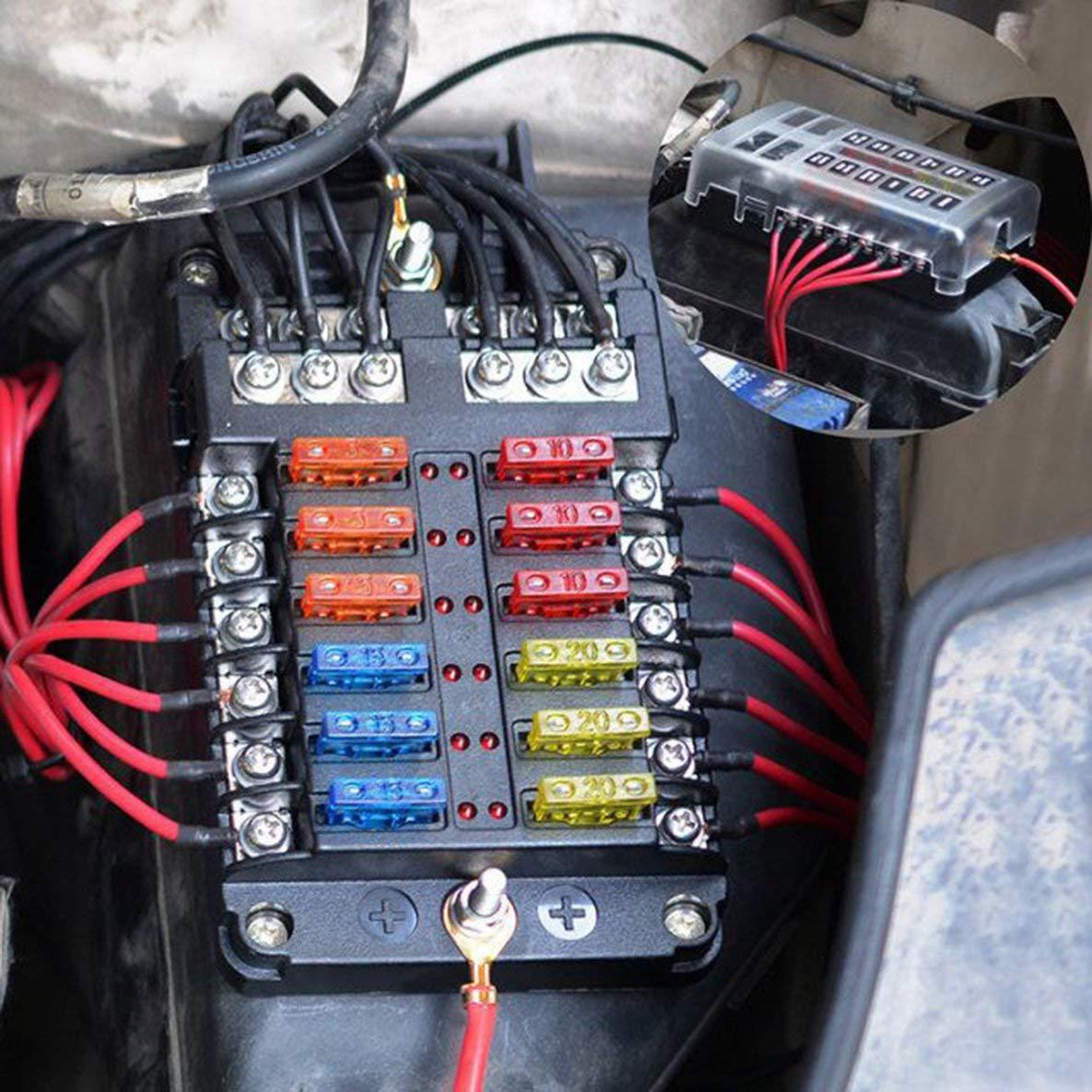 Noradtjcca Auto-Mehrwegesicherungskasten-Energie-Stecksicherungskasten mit gef/ührtem Indikator 12 Eingang und 12 Ausgang unabh/ängig positiv und negativ