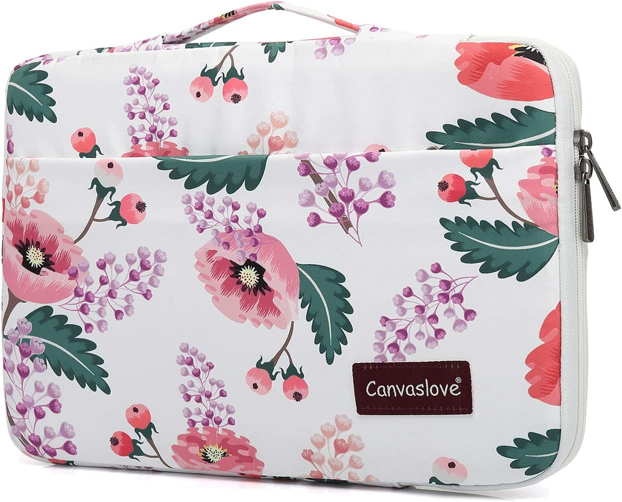 Canvaslove Waterproof Conner Protection Laptop Sleeve with Handle (13 inch-13.5 inch, White Flower)