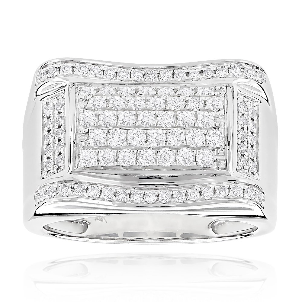 Luxurman Affordable Mens Natural 1 Ctw Diamond Ring 14K Gold For Him (White Gold Size 10.5)