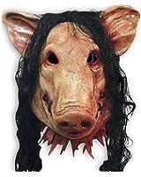 YiYi Operation Halloween Latex Cosplay Pig Head Mask Hair Horrible Animal Saw Masquerade