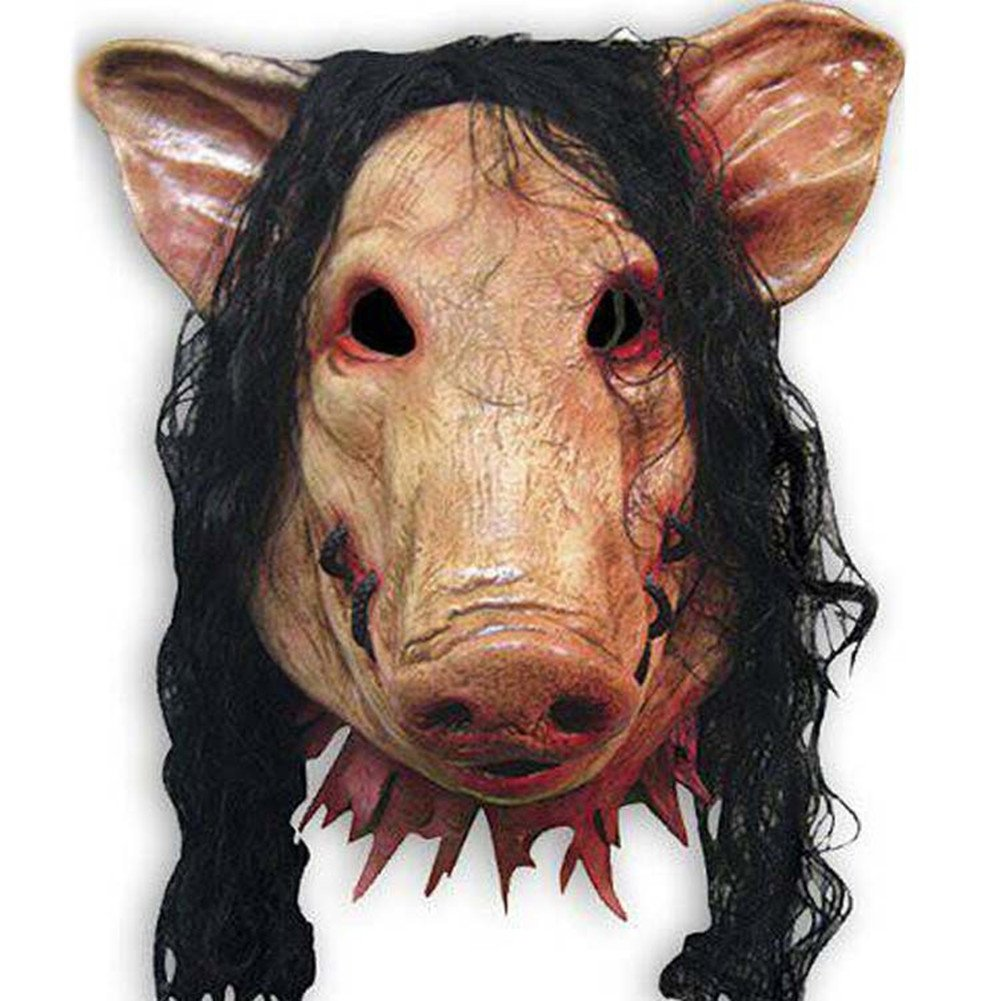 YiYi Operation Halloween Christmas Saw Mask Pig Head with Hair Animal Horrible Cosplay Masquerade Costume Latex Mask