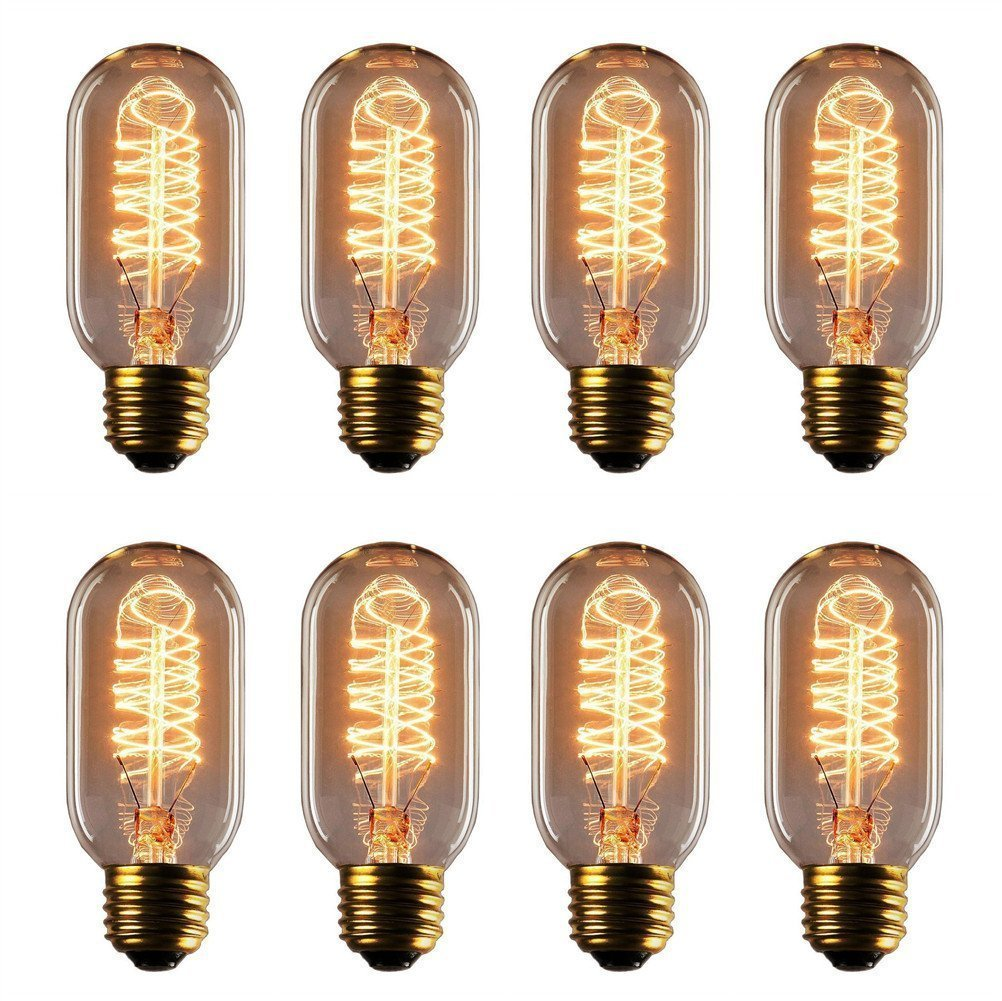 Vintage Edison Bulb - 25 Watt - T45 - Squirrel Cage Filament - Dimmable - 8 Pack - 65 Lumen
