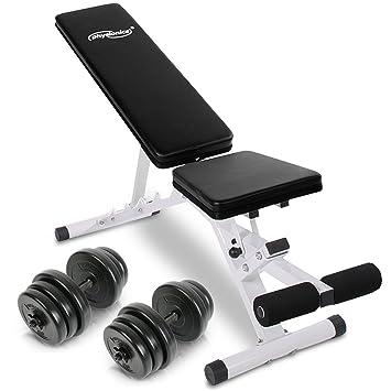 Physionics - Banco de pesas / Banco abdominal - regulable en 5 niveles - con 12 discos de pesas máx. 40 kg: Amazon.es: Deportes y aire libre