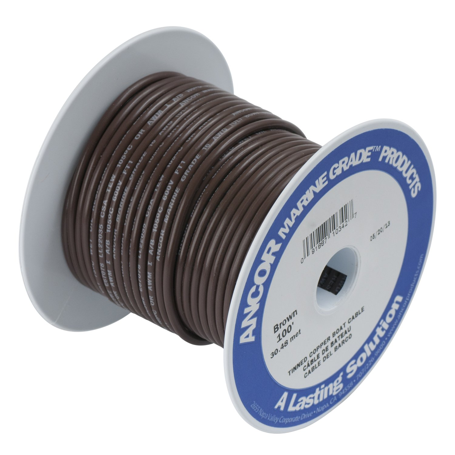 Ancor 180203 Marine Grade Electrical Primary Tinned Copper Boat Wiring (18-Gauge, Brown, 35-Feet)