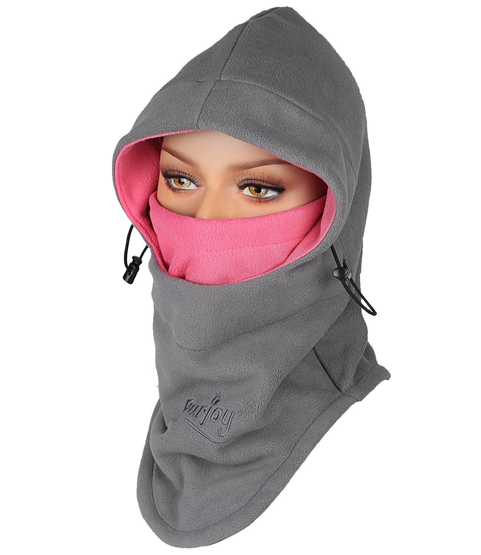 Purjoy Multipurpose Use 6 in 1 Thermal Warm Fleece Balaclava Hood Police SWAT Ski Bike Wind Stopper Full Face Mask Hats Neck Warmer Outdoor Winter Sports Snowboarding Cap(Grey+Rose)