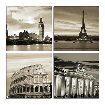 Grepova art large modern city landscape berlin london paris rome 4 panels canvas prints giclee