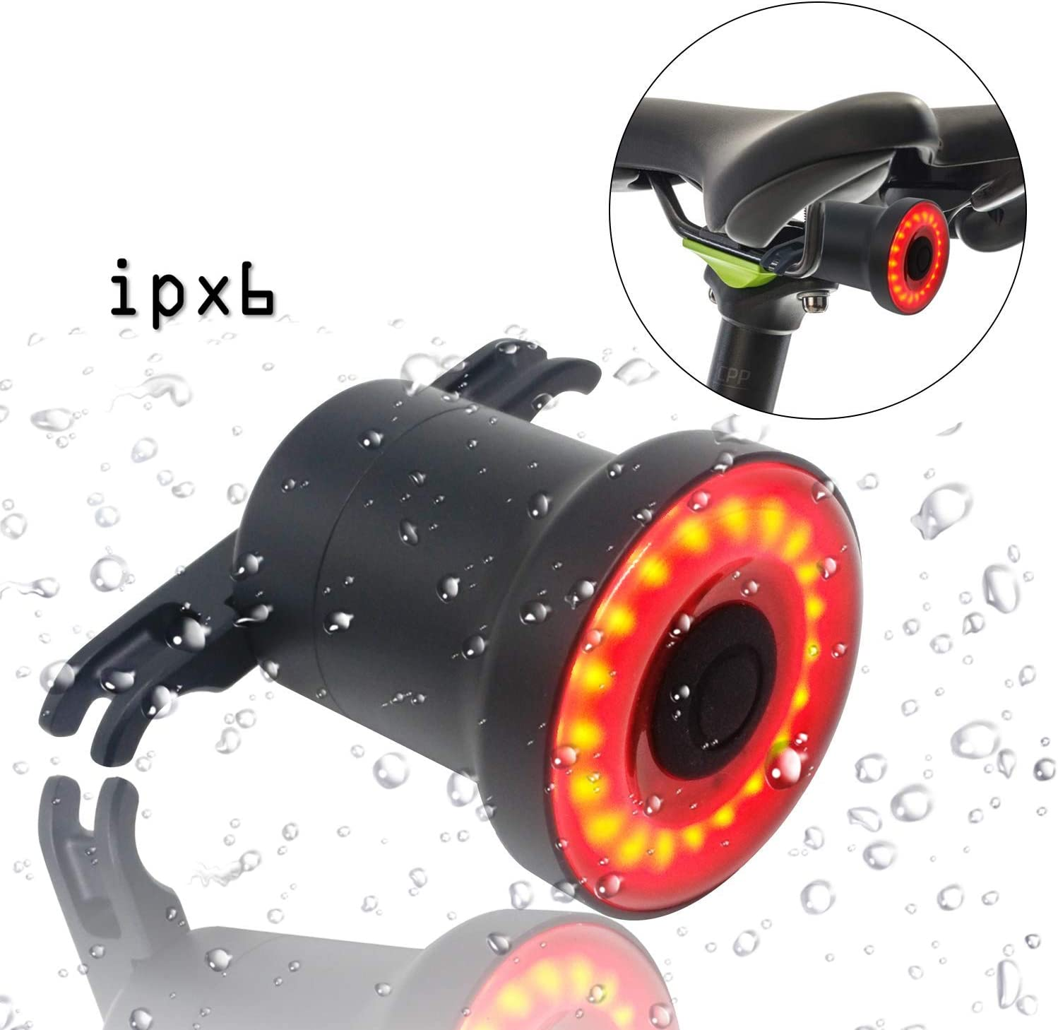 ENFITNIX Bike Tail Light Ultra Bright Rear USB Rechargeable Auto On Off Brake Sensing IPX6 Waterproof Water Resistant Red High Intensity LED Bicycle Lights 30hour Running time for Skateboard