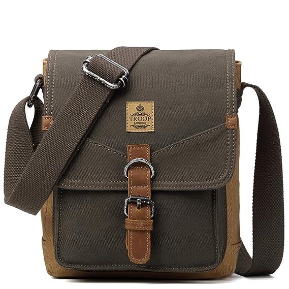 8309b27eec TRP0416 Troop London Heritage Canvas Leather Shoulder Bag