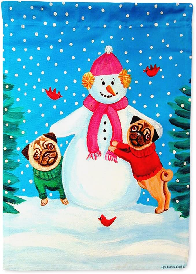 Caroline's Treasures 7115GF Snowman with Pug Winter Snowman Flag Garden Size, Small, Multicolor