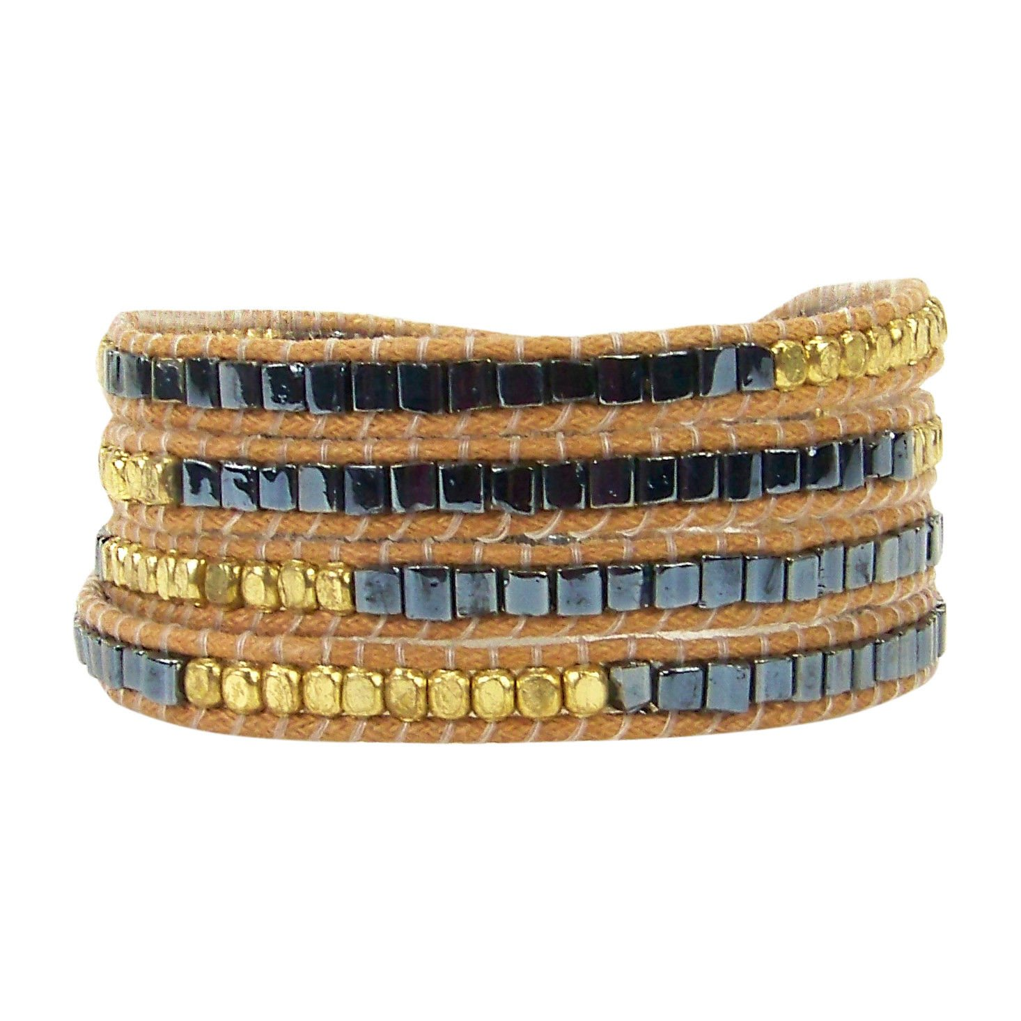 Pink House Multi Wrap Bracelet in Golds Silvers and Gunmetal