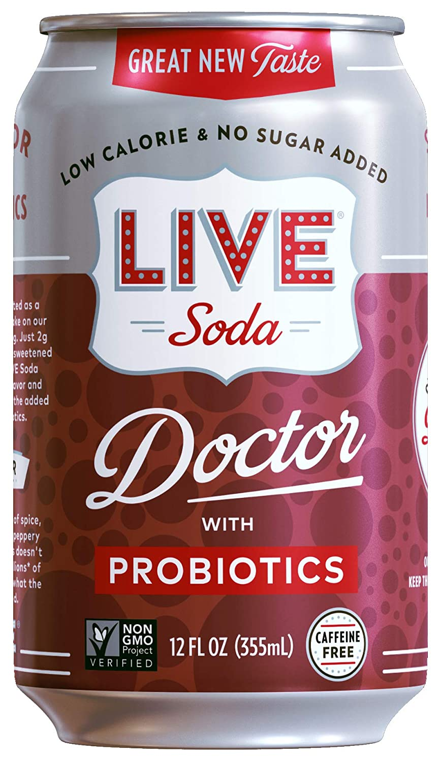 LIVE All Natural Doctor Soda With Probiotics, Low Calorie and No Added Sugar, Pack of 24