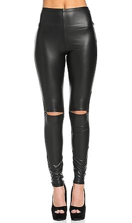 1222e938d1e PrettyFashion Women s High Waisted Split Knee Leather Matte Leggings ...