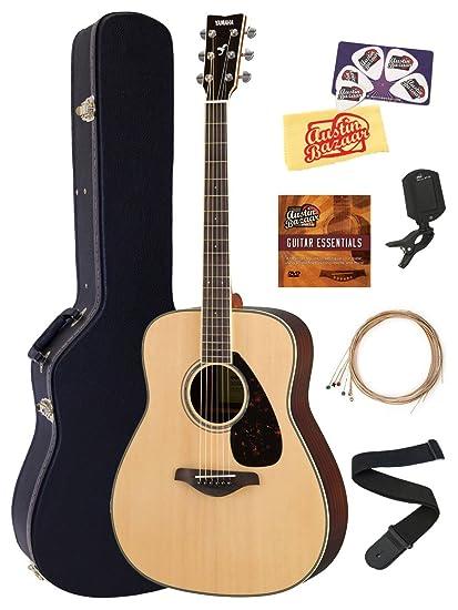 5046cb6e4f Yamaha FG830 Solid Top Folk Acoustic Guitar - Natural Bundle with Hard  Case, Tuner,