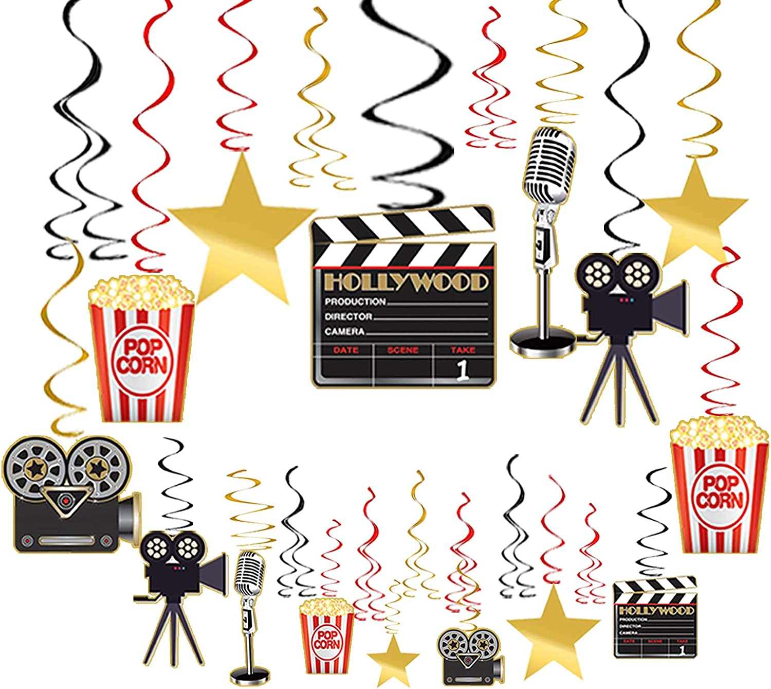 Movie Night Decorations Hanging Swirls Hollywood Movie Theme Party Decorations Supplies 30pcs