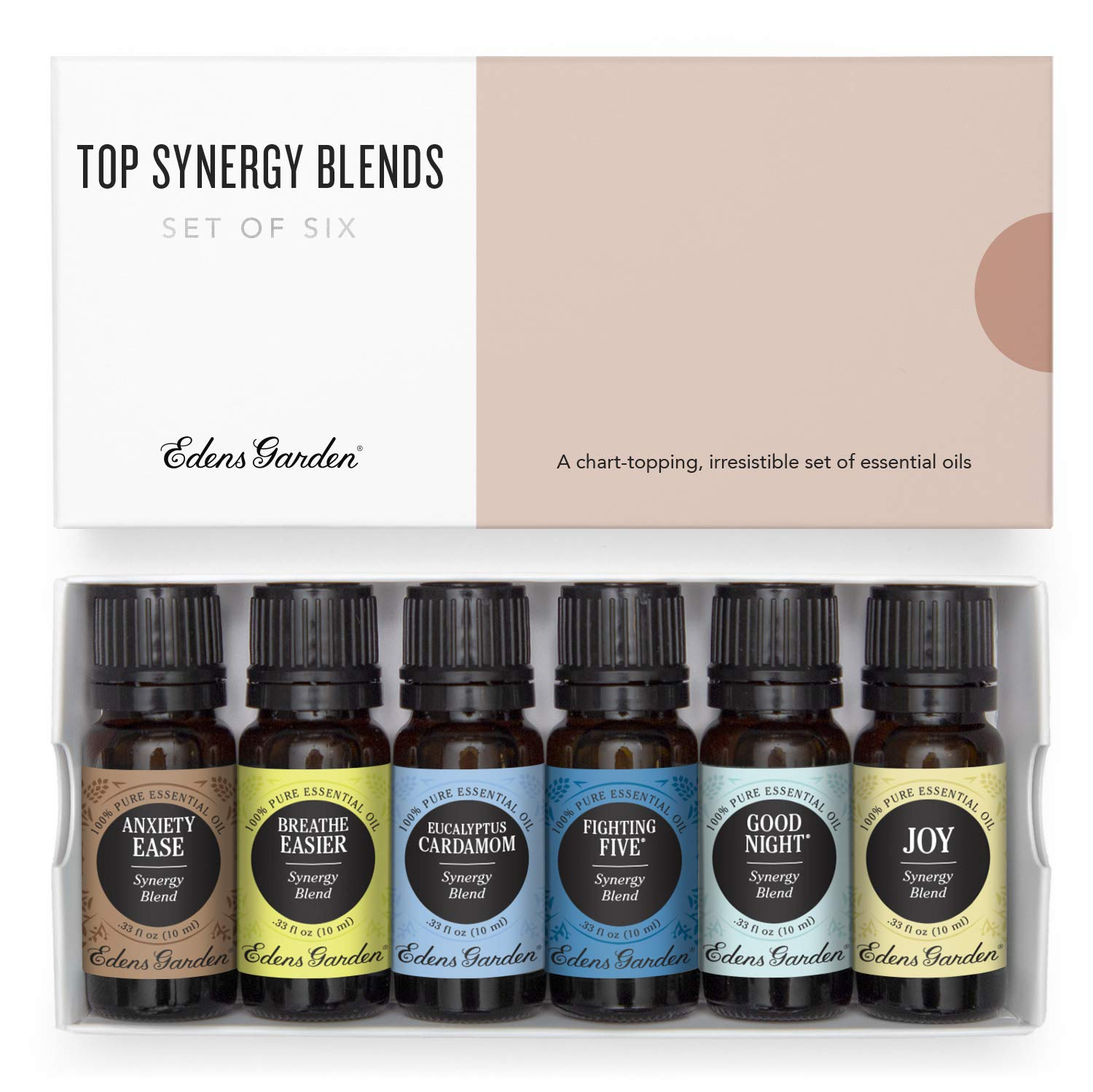 Edens Garden Top Synergy Blend Essential Oil 6 Set, Best 100% Pure Aromatherapy Starter Kit (For Diffuser & Therapeutic Use), 10 ml