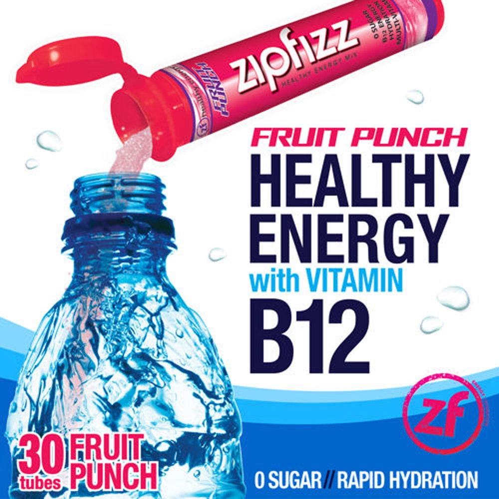Zipfizz Fruit Punch Healthy Energy Drink Mix - Transform Your Water Into a Healthy Energy Drink - 2 Boxes, 30 Tubes Each