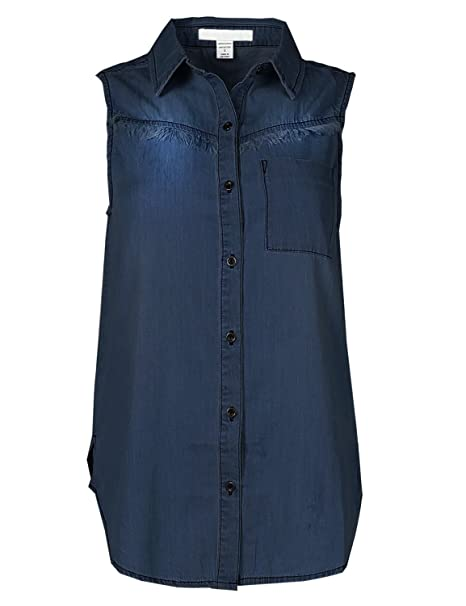 b49cd865afd Awesome21 Soft Denim Chambray Sleeveless Fringe Button Down Shirt Top Dark S