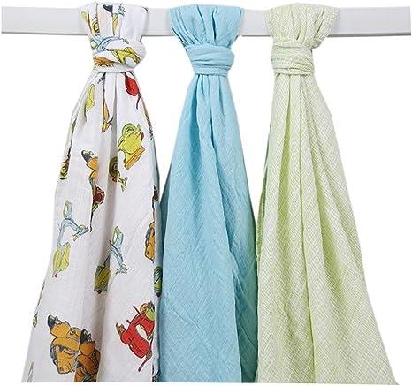 Lily & Jack – 3 Pack Multi Función de Baby paños Motor Roller pañales de tela (75 x 100 cm) muselina Swaddle Blanket: Amazon.es: Bebé