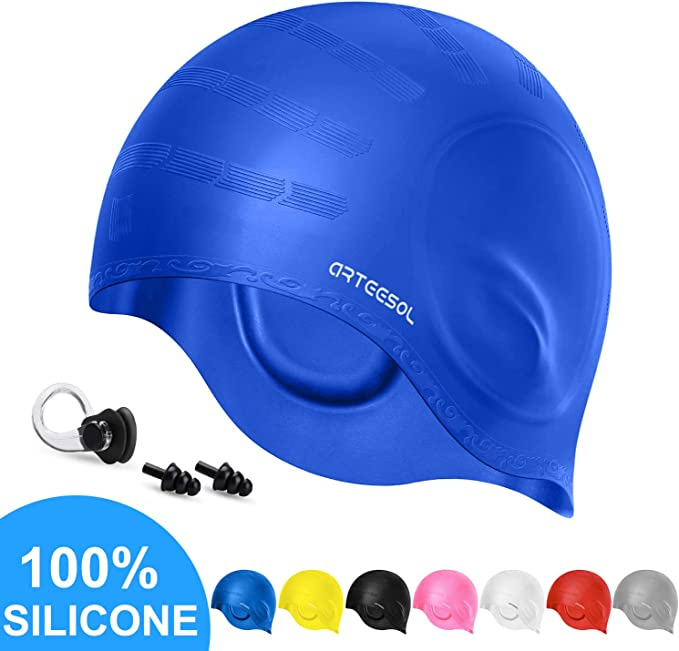 Swim Cap Arteesol Silicone Swimming Caps Waterproof Swimming Hats Bathing Cap with Ear Pockets Ear Plugs and Nose Clip Great Elasticity Keep Hair Dry for Adult Women Men