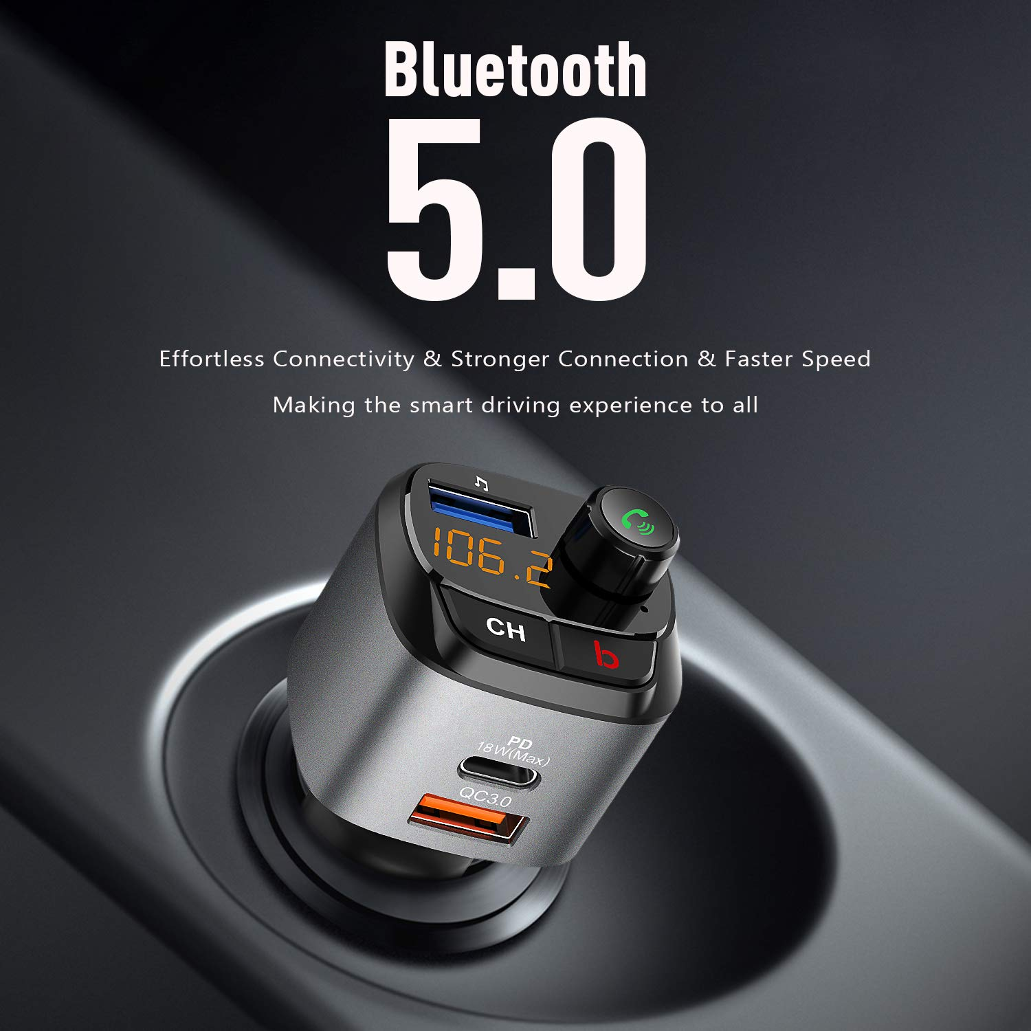 Car Charger with USB-C PD18W /& Quick Charge 3.0 Port Pamyvia Wireless Audio Adapter V5.0 Bluetooth FM Transmitter for Car 3 USB Ports U Disk Upgraded Hands-Free Calling Bass Booster