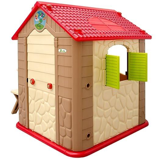 LittleTom Casa de Juegos para niños y niñas Incl 1 Mesa 2 taburetes Casita de plástico para Interiores y Exteriores Beige Marrón: Amazon.es: Juguetes y ...