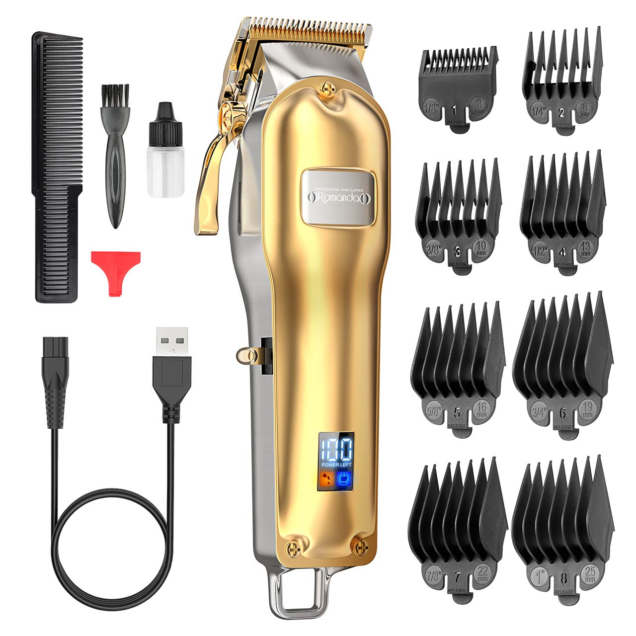 Hair Clippers for Men,Clippers for Hair Cutting Mens Hair Clippers Professional Kit Rechargeable Cordless Electric Haircut Kit with 2500 mAh LCD Display,8 Guide Combs for Men and Barbers