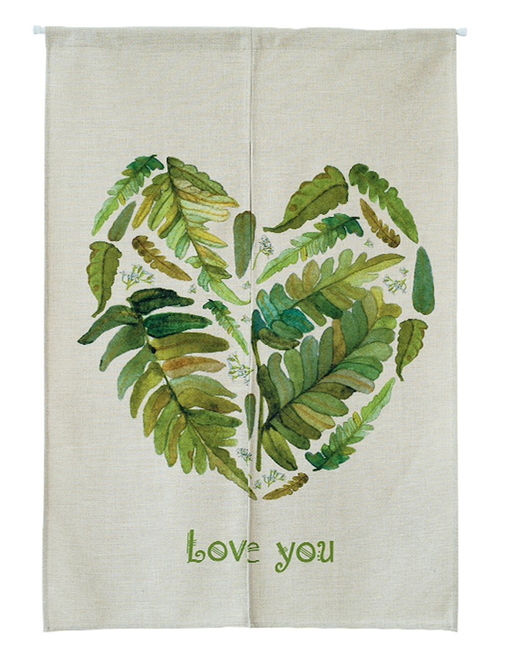 KARUILU home Japanese Noren Doorway Curtain / Tapestry with Watercolor Green 33.5'' Width x 47.2'' Long (Love You Leaf)