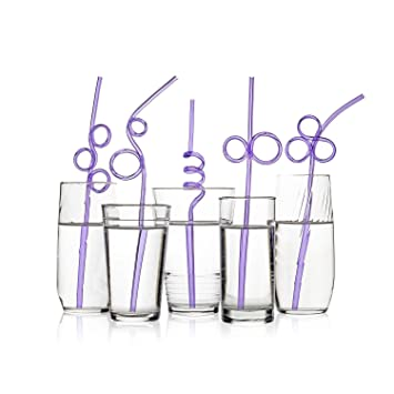 Longer /& Wider BPA PFOA Free 40 Premium Crazy Loop Party Drinking Straws Assorted Colors Value Pack Recyclable