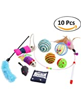 Cat Toys,Legendog 10 Pcs Cat Kitten Interactive Catnip Mouse Toys Set for Indoor Kitty and Cats
