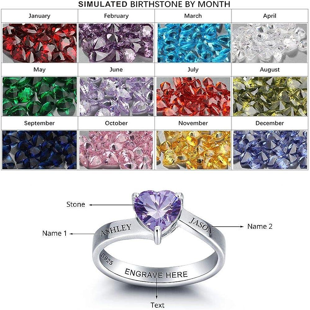 Lam Hub Fong Personalisierte Damen Ringe Silber 925 mit Gravur Ring mit Namen und geburtsstein echt Silber personalisierte Ringe 2 Namen Frauen Ring