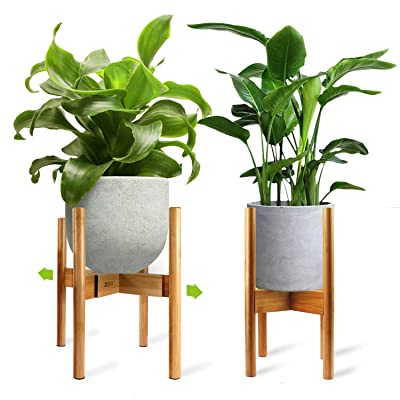 Mid-Century Plant Stand by ZERLA, Bamboo Wood Flower Pot Holder Display, Up to 12 Inch Planter - Planter Not Included : Garden & Outdoor