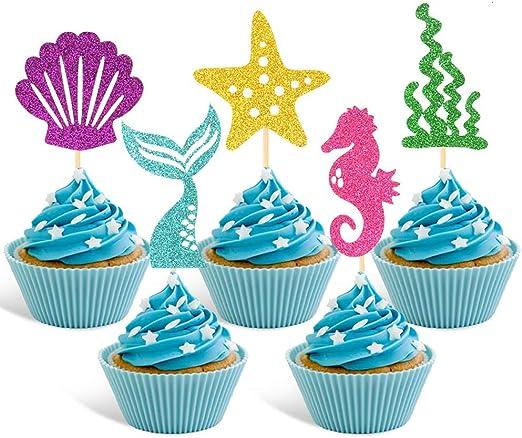 Amazon.com: Adornos para cupcakes de sirena, para decoración ...