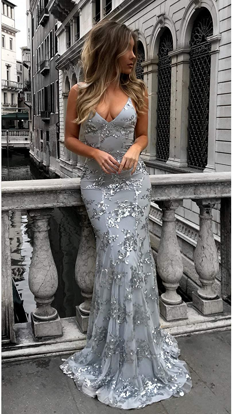 Lover Kiss Silver Sequin Mermaid Evening Dress Strap Backless Prom Party Gown Coral