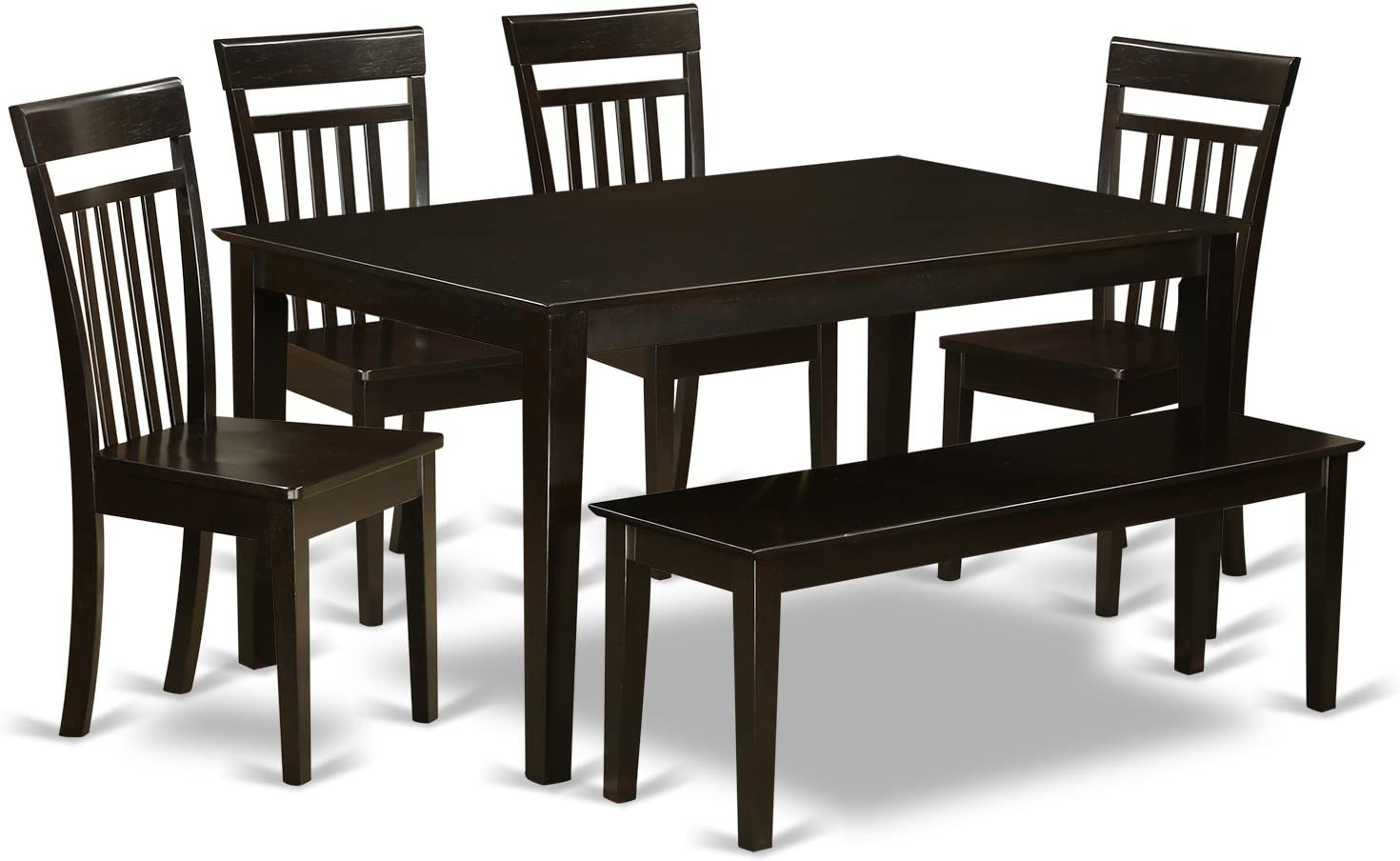CAP6S-CAP-W 6 PC Kitchen Table with bench set-Kitchen Table and 4 Chairs for Kitchen and 1 Bench