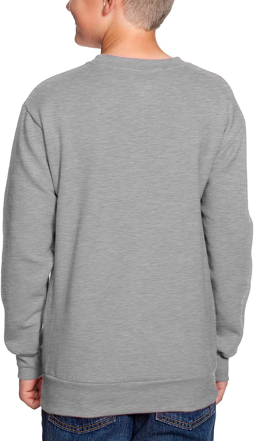 Light Gray, X-Large Back to School Youth Fleece Crewneck Sweater HAASE UNLIMITED Hello 4th Grade