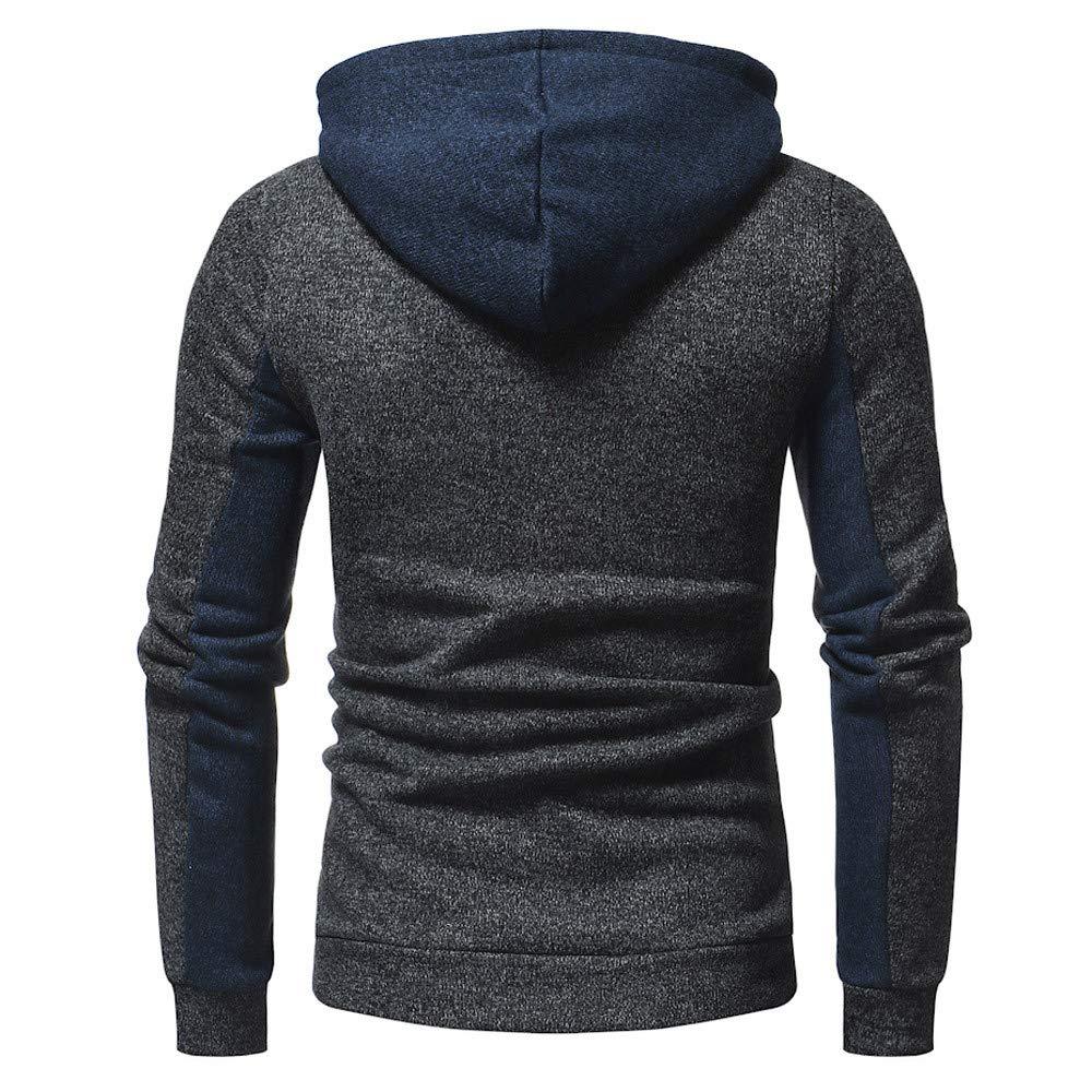 Autumn Casual Patchwork Long Sleeve Hooded Sweatshirt Top Blouse 7475 Fenleo Mens Hoode