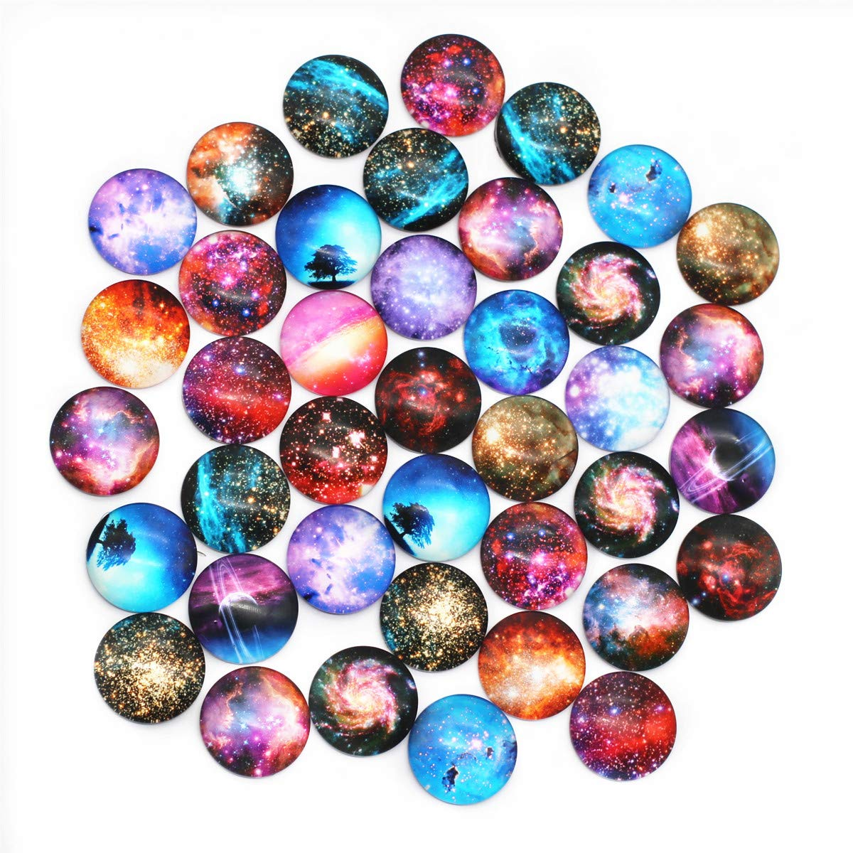 ZHU YU CHUN 40 Pcs 25mm Glass Dome Cabochons Half Round Flatback Cosmic Sky (Style 1) by ZHU YU CHUN