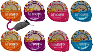 Friskies Lil' Soups Adult Cat Food Complement 4 Flavor 8 Container Sampler with Toy Bundle, 2 Each: Chicken Butternut Squash, Sockeye Salmon, Shrimp, Tuna (1.2 Ounces)