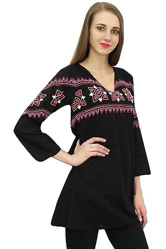 771c5e6eaa4 Bimba Tunique Courte Boho de Femmes Broderie à Manches Longues Casual Wear   Amazon.fr  Vêtements et accessoires