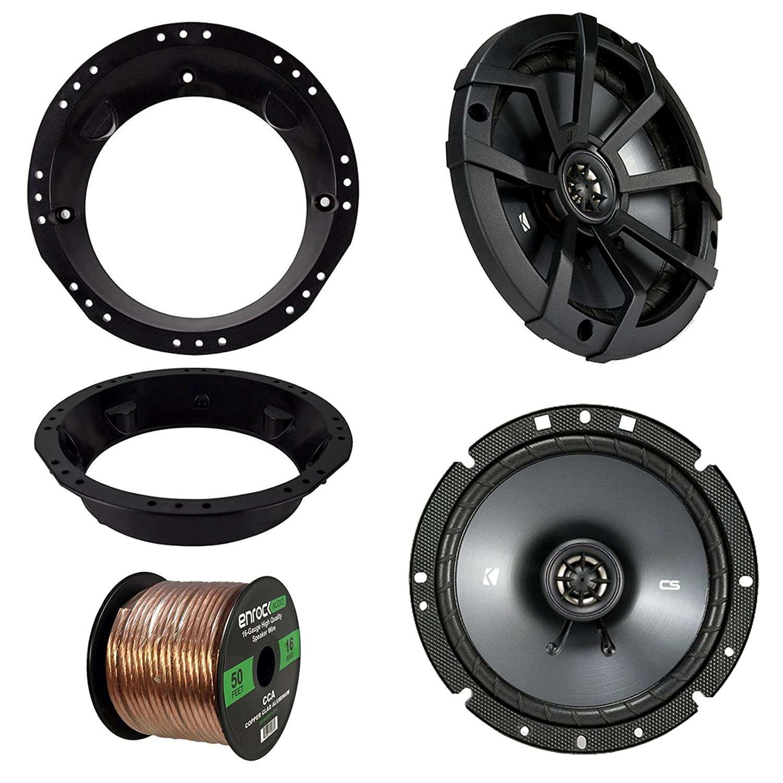 Speaker Mounting Rings For Motorcycles 98-13 Harley Speaker Bundle Enrock 50 Ft 16G Speaker Wire Kicker Metra Enrock 43-DSC6504 82-9601 2x of Kicker 43DSC6504 6.5 Inch 480 Watts 2-Way DS-Series Black Car Stereo Coaxial Speakers