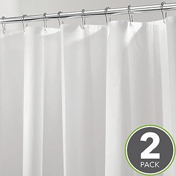 MDesign PEVA 3G Shower Curtain Liner (Pack Of 2), Eco Friendly, Mold