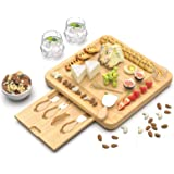 Bamboo Cheese Cutting Board - Charcuterie Board Set with Cutlery - Wood Cheese Board and Knife Serving Tray for Birthday…
