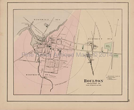 Houlton Caribou Maine Antique Map Colby 1884 Authentic Decor History