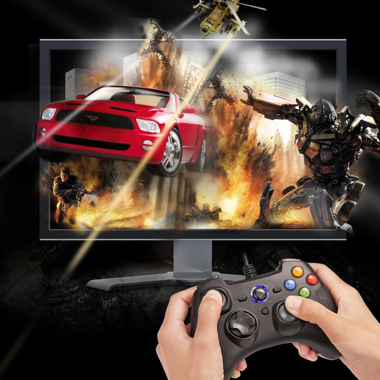 Controller da gioco con cavo joystick per PC con doppia vibrazione Turbo e pulsanti di attivazione per Windows//Android//PS3//TV Box Grigio EasySMX