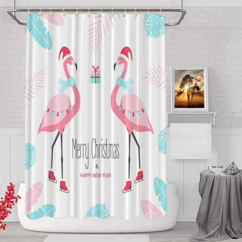 BaoNews Christmas Flamingo Decorative Shower Curtain, Christmas Flamingo Merry Christmas Decor Shower Curtain for Shower Stall Bathroom Resistant Waterproof Standard Size 72x72 Inch