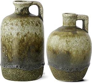 K&K Interiors 14937C Set of 2 Green Glazed Terracotta Vase Jugs